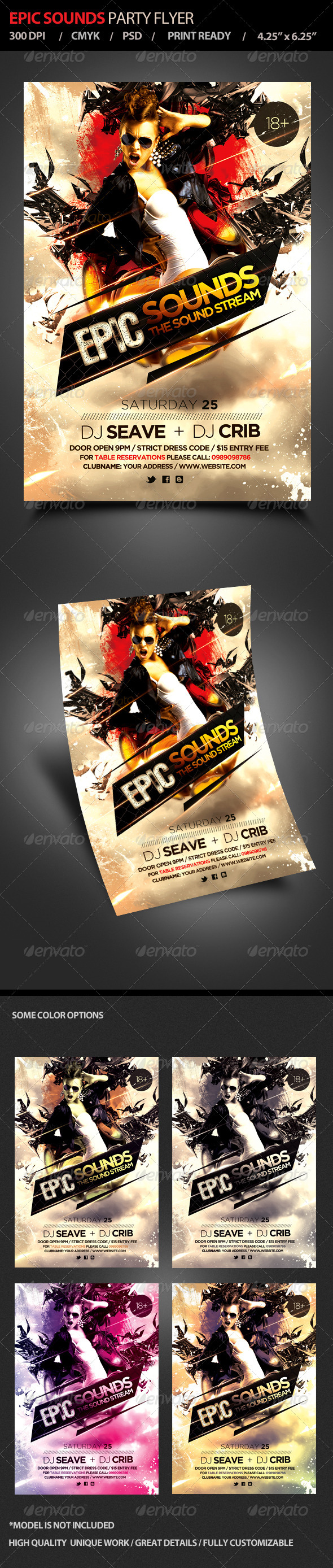 Epic Sounds Party Flyer - Flyers Print Templates