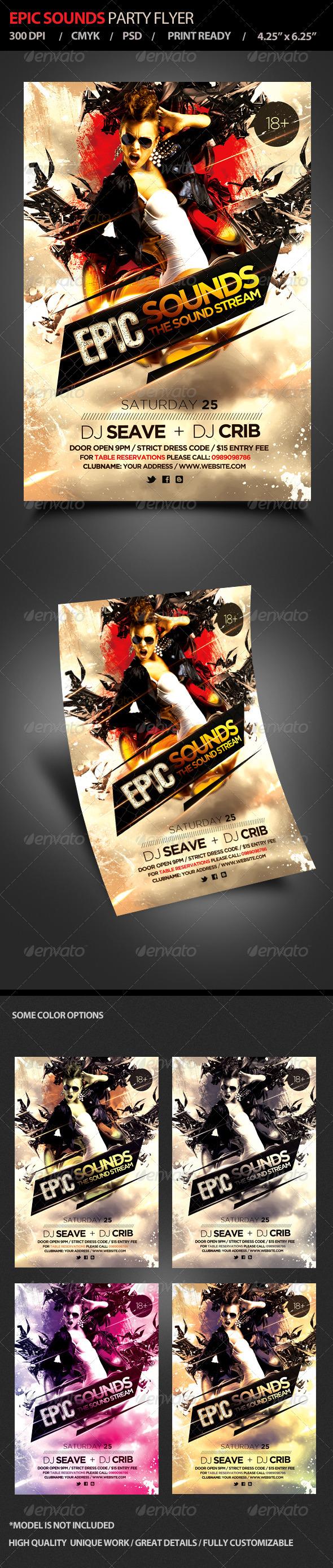 Epic Sounds Party Flyer - Flyers Print Templates