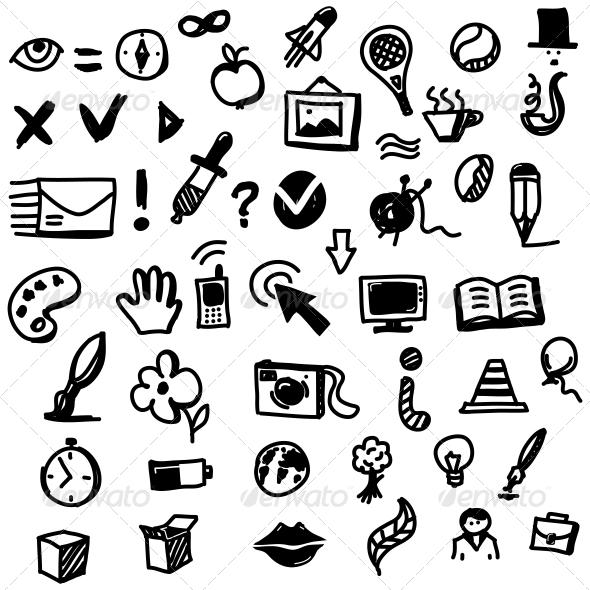 Hand drawn sketch icon set miscellaneous vectors