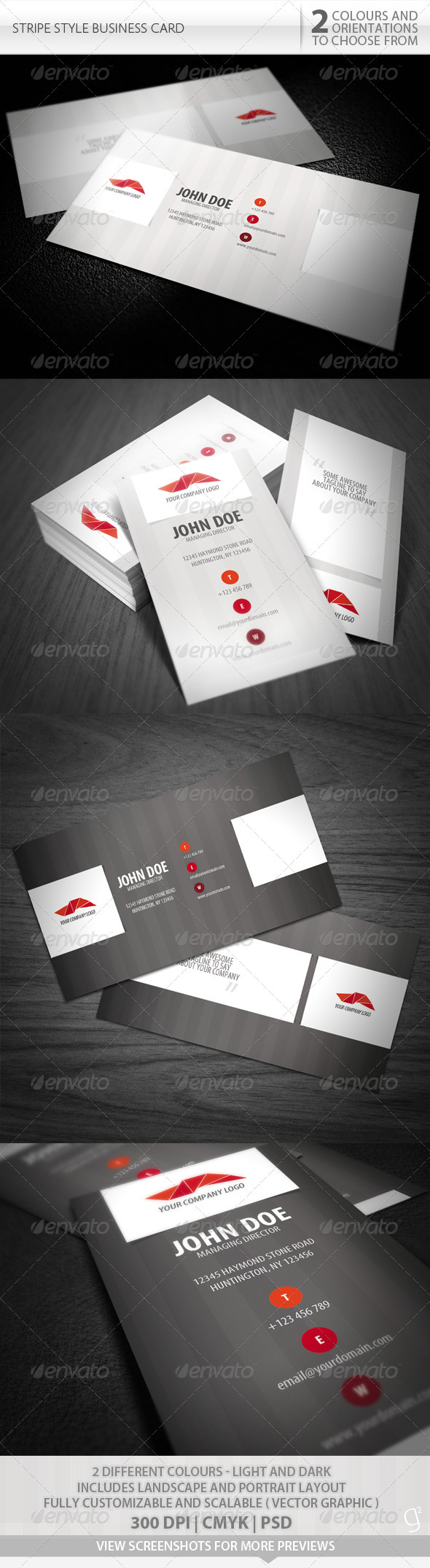 Stripe Style Business Card - Corporate Business Cards