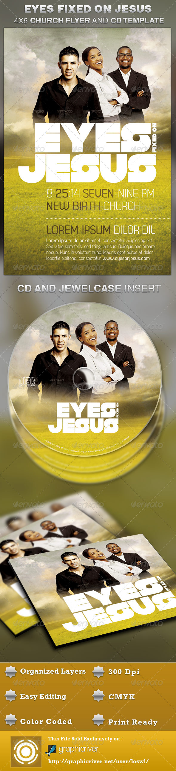 Eyes Fixed on Jesus Church Flyer and CD Template - Church Flyers