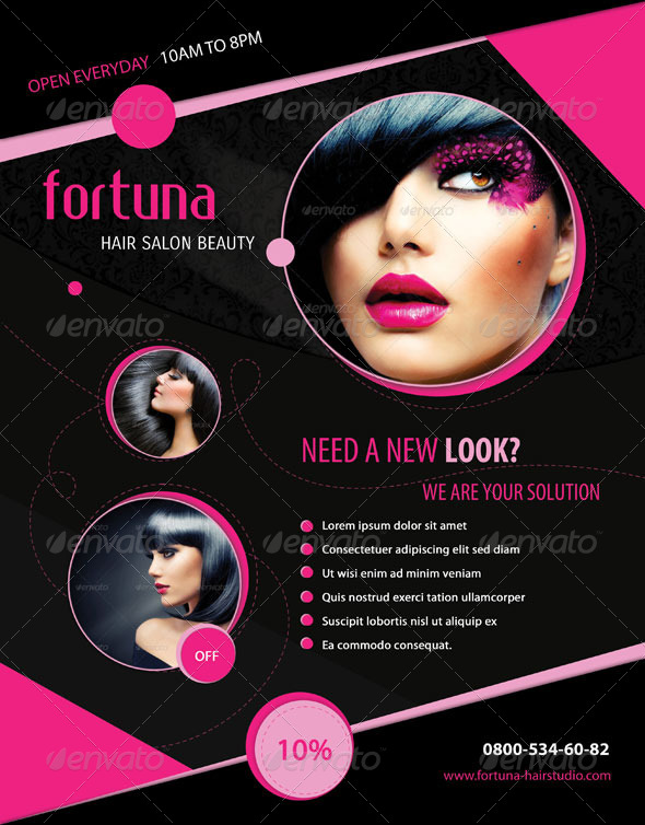 Fortuna Hair Salon Flyer By Miciana1417 | Graphicriver