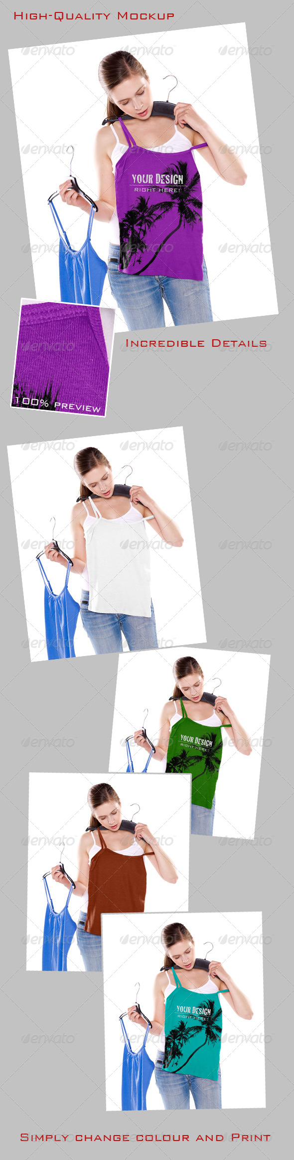 Mock-Up, Girl Trying on Top - T-shirts Apparel
