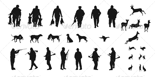 Set of Silhouettes of Hunters, Dogs and Wildlife - Characters Vectors