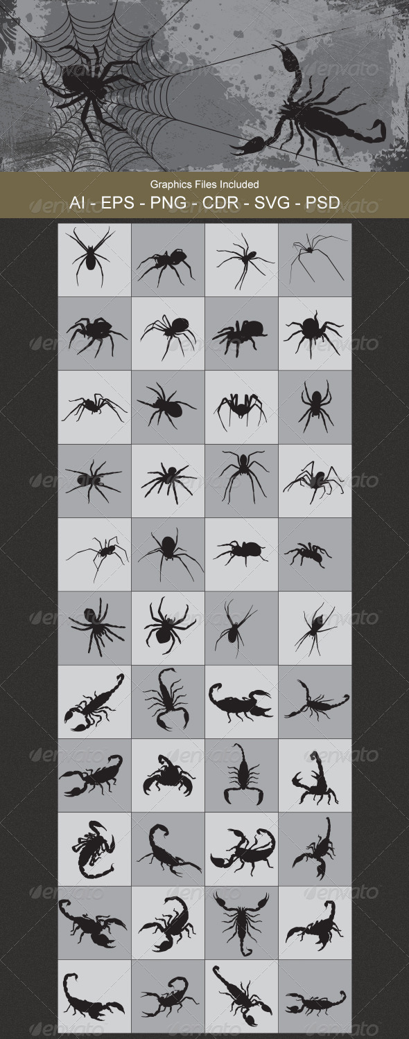 Spider and Scorpion Silhouettes - Animals Characters