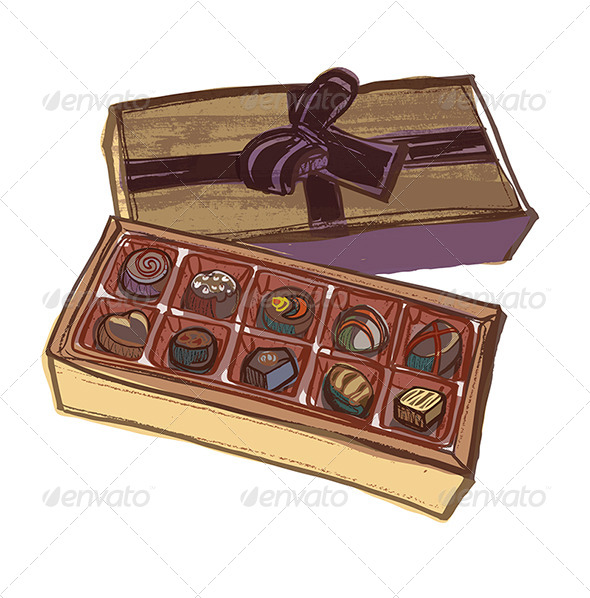 Chocolate Box with Various Chocolates and Bow Ribbon - Food Objects