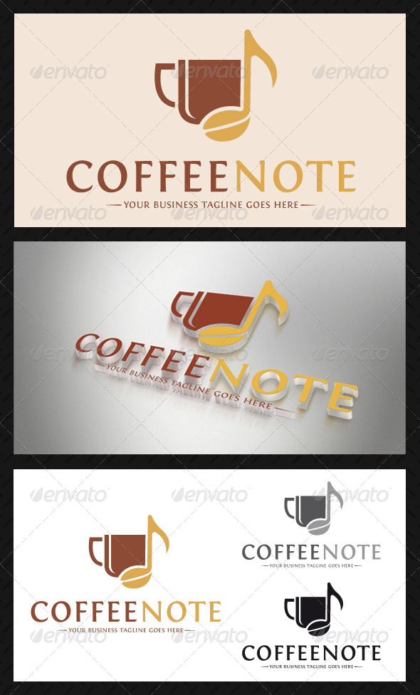 Coffee Music Logo Template - Food Logo Templates