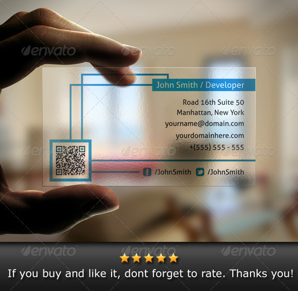Translucent qr code business card by bosstwinsart graphicriver translucent qr code business card creative business cards colourmoves Images