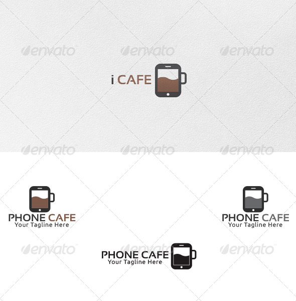 Phone Cafe - Logo Template - Vector Abstract