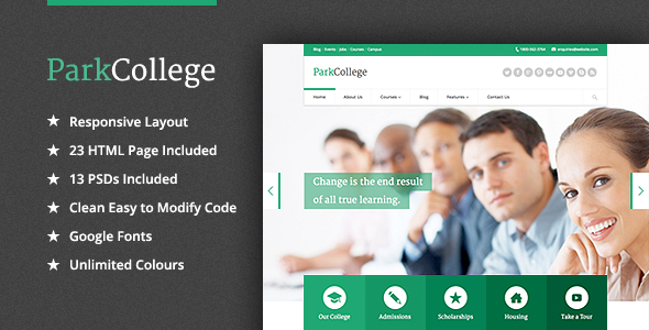 ParkCollege – Education Responsive HTML Template