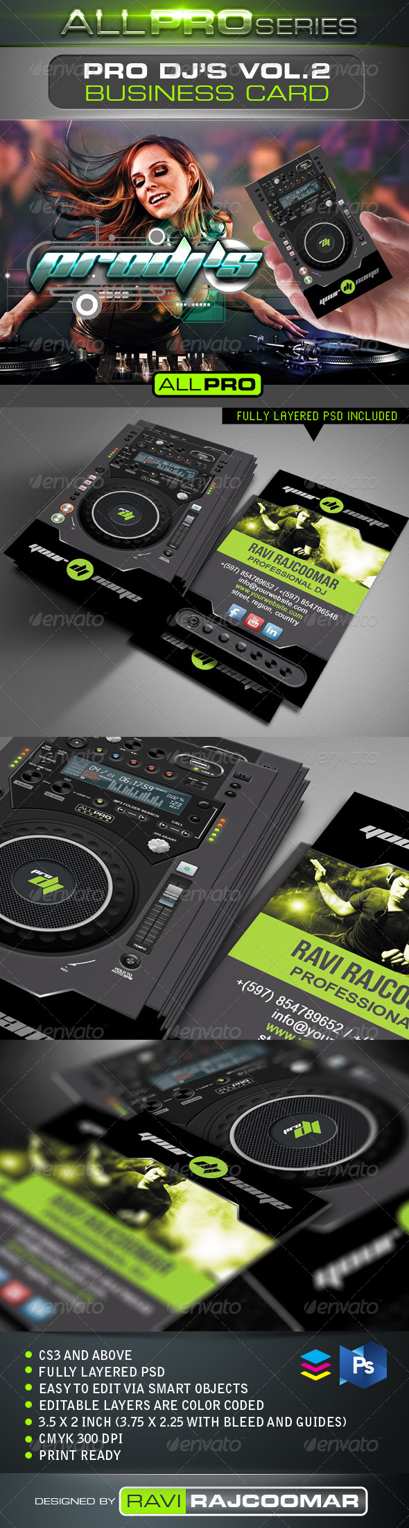 Pro DJ's Business Card Vol.2 - Industry Specific Business Cards
