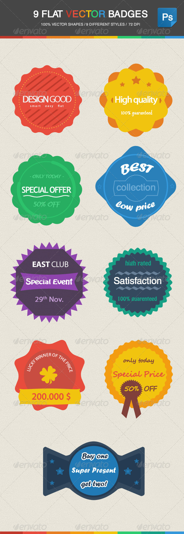 9 Flat Vector Badges - Badges & Stickers Web Elements