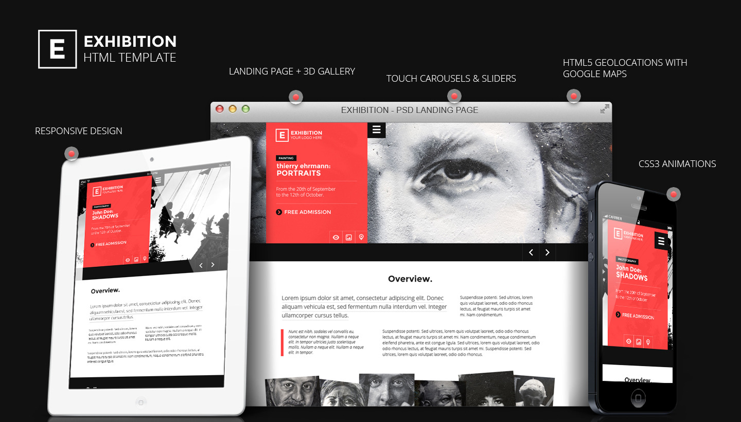 Exhibition - HTML Landing Page Art Gallery/ Muesum