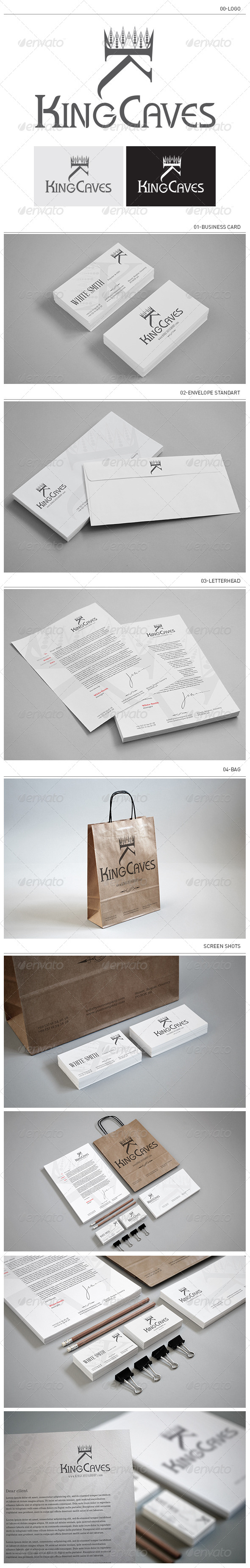 King Caves Corporate Identity - Stationery Print Templates
