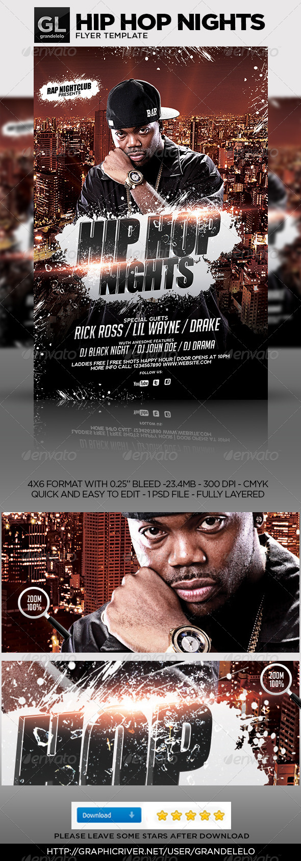 Hip Hop Flyer Template   Clubs U0026 Parties Events