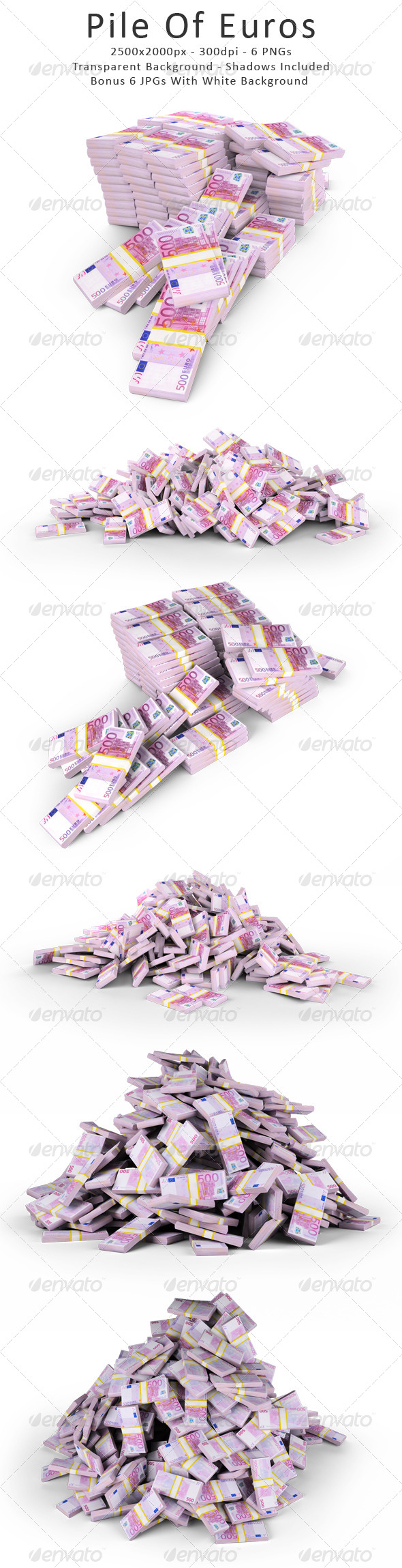 Pile Of Euros - Objects 3D Renders