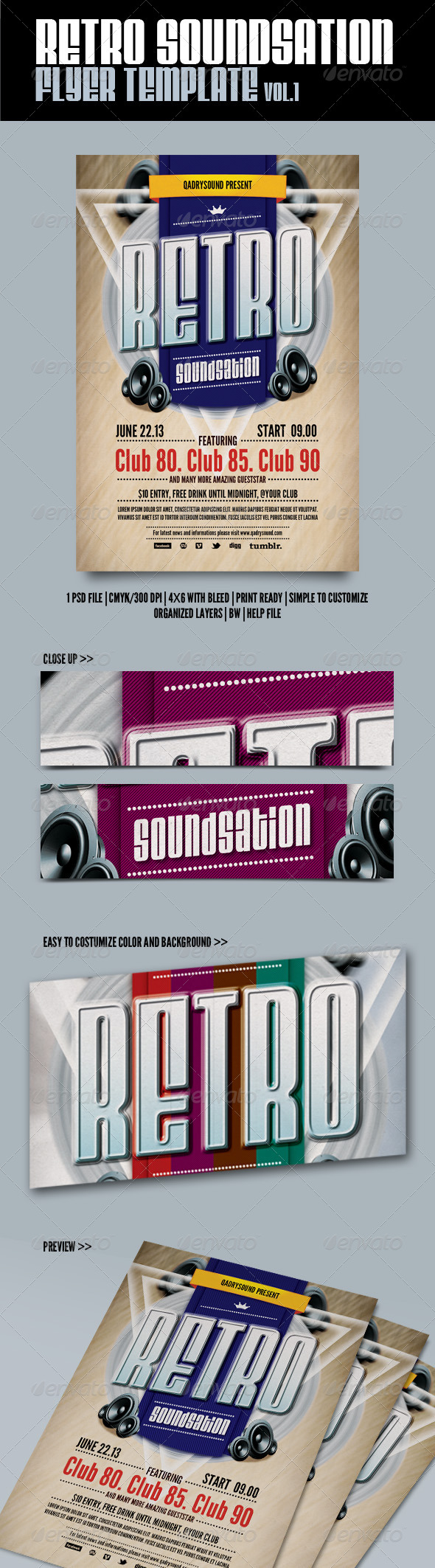 Retro Soundnation Flyer Template - Clubs & Parties Events