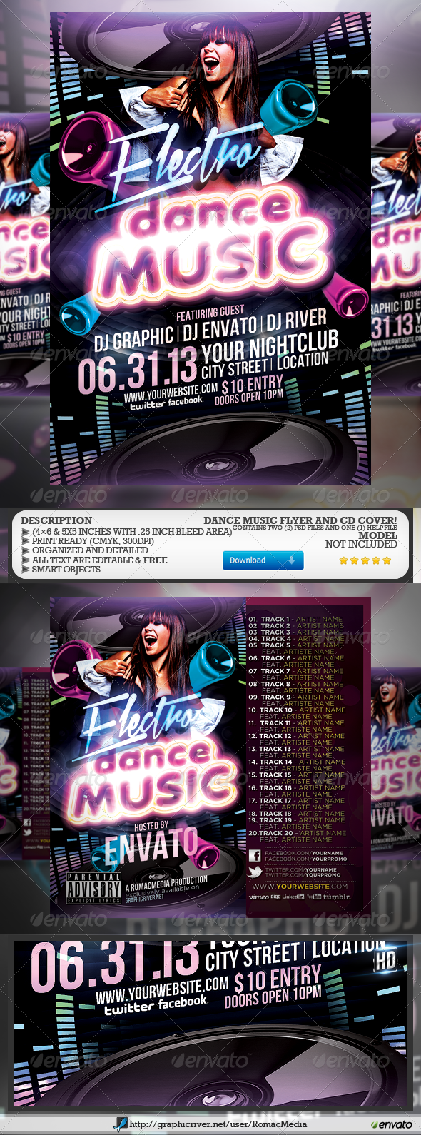 Dance Music Party Flyer and CD Cover - Clubs & Parties Events