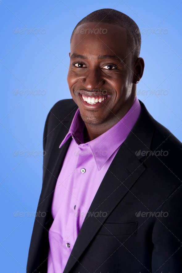 Happy smiling African American business man - Stock Photo - Images