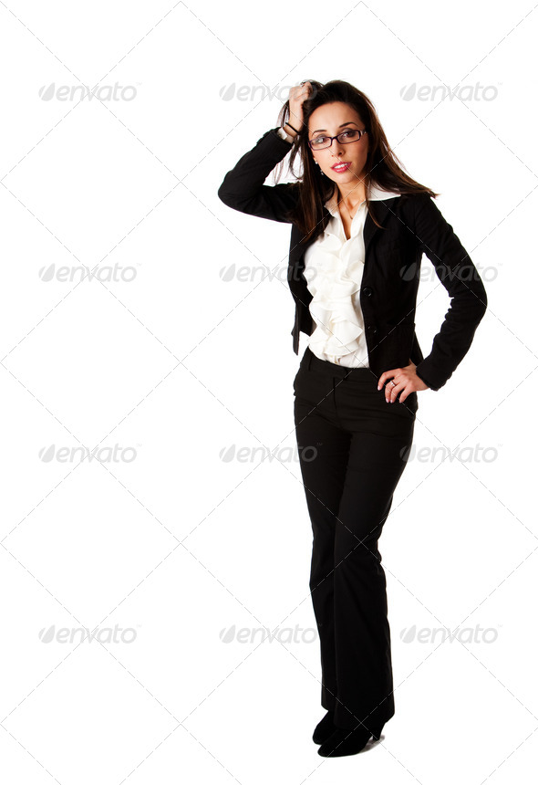 Stressed business woman - Stock Photo - Images