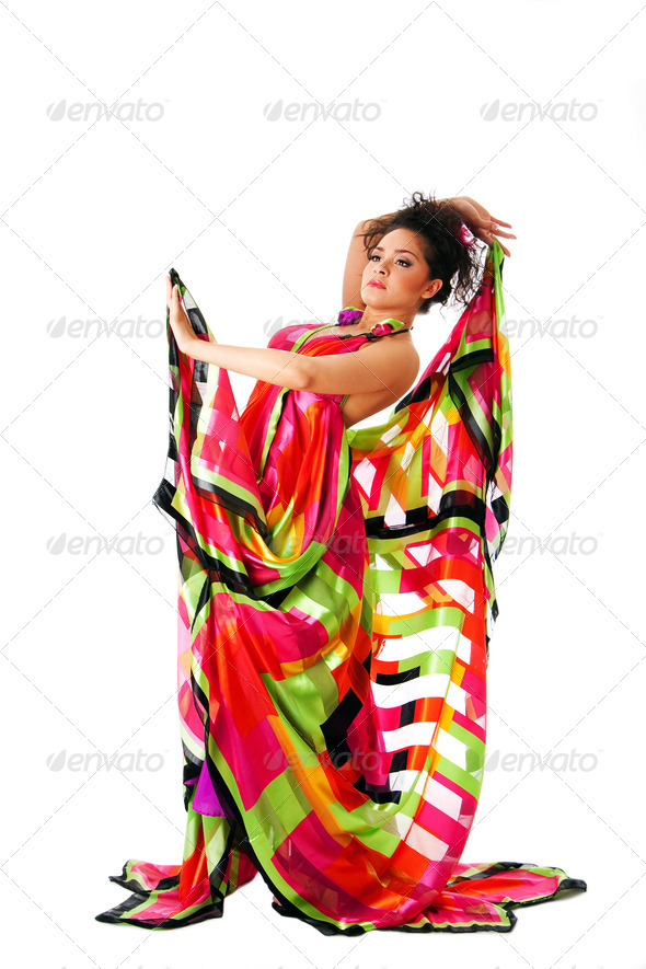 Fashion woman in colorful dress - Stock Photo - Images