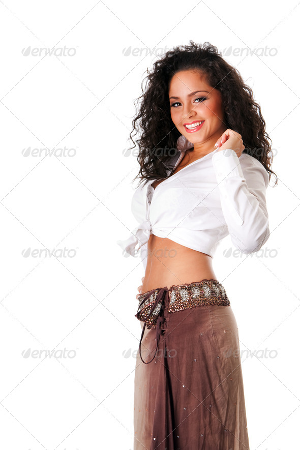 Happy smiling sexy young woman - Stock Photo - Images