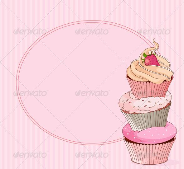 Cupcake Place Card - Backgrounds Decorative