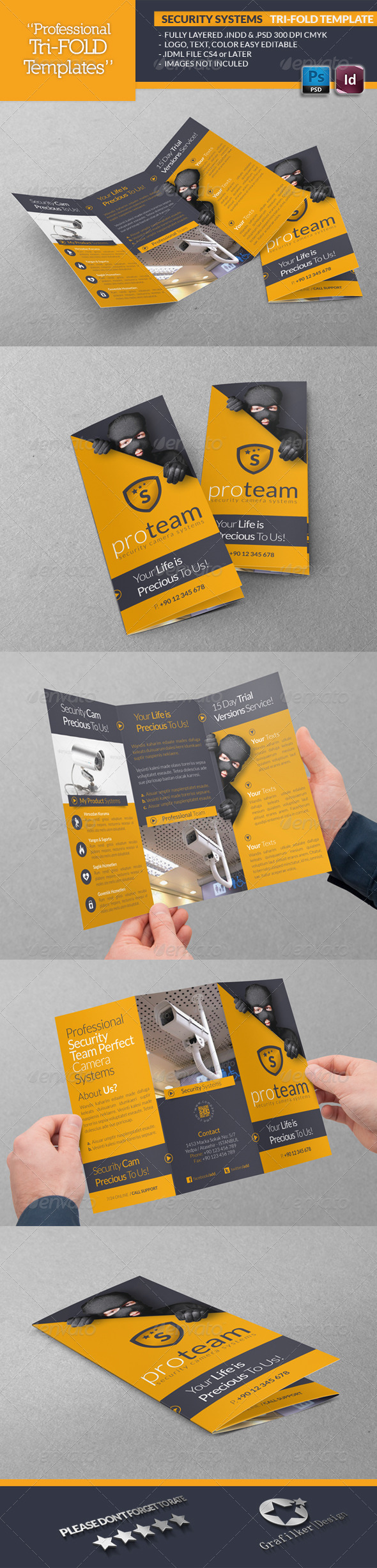 Security Systems Tri-Fold Template - Brochures Print Templates