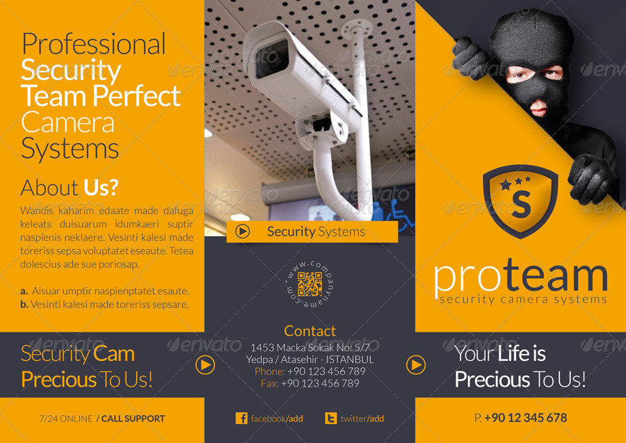 Security systems tri fold template by grafilker graphicriver for Security company brochure template