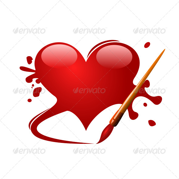 Heart Drawn in Red Paint with a Brush - Valentines Seasons/Holidays
