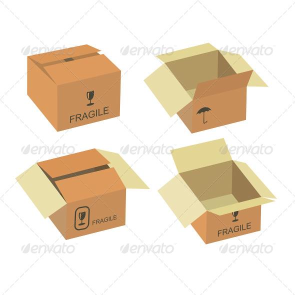 Shipping Box Vector Set - Commercial / Shopping Conceptual