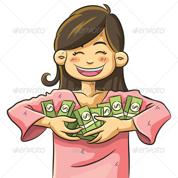 Cute Girl Holding Money - People Characters