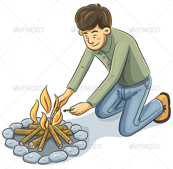 Man Lighting the fire - People Characters