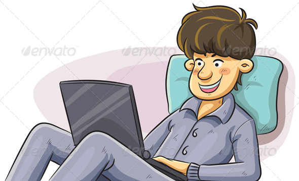 Man Using Laptop in the Bed - People Characters