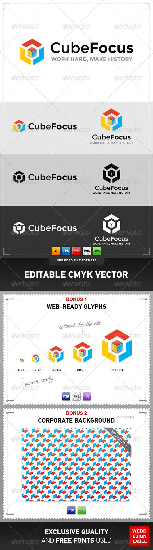 Cube Focus Logo - Objects Logo Templates