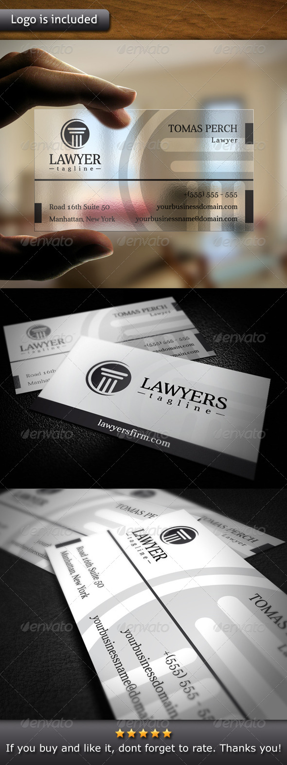 Law Firm Logo Business Card - Corporate Business Cards