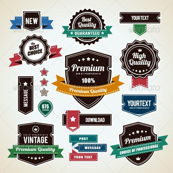 Set of Vintage Badges - Vectors