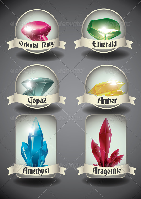 Crystals and Gems Badges. - Decorative Symbols Decorative