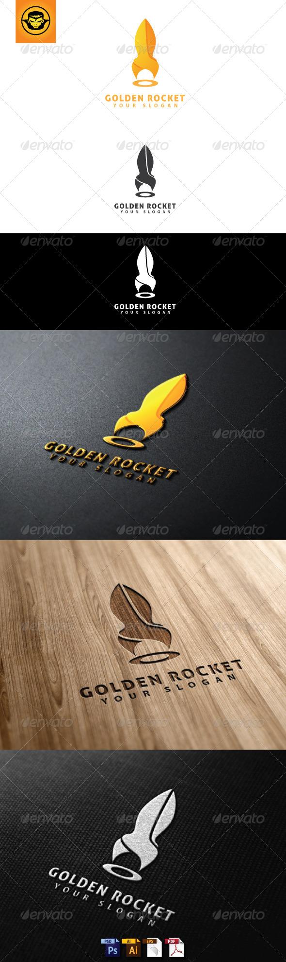 Golden Rocket Logo Template - Objects Logo Templates