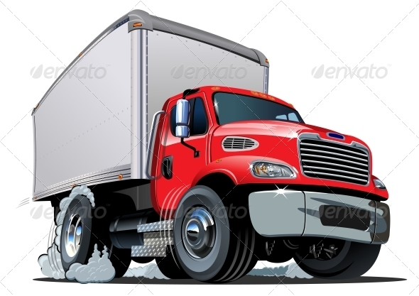 Cartoon Delivery / Cargo Truck - Man-made Objects Objects
