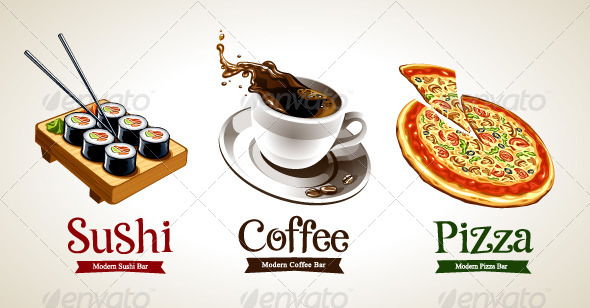 Sushi, Coffee and Pizza - Food Objects