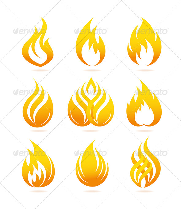 Fire Icons Set - Decorative Symbols Decorative
