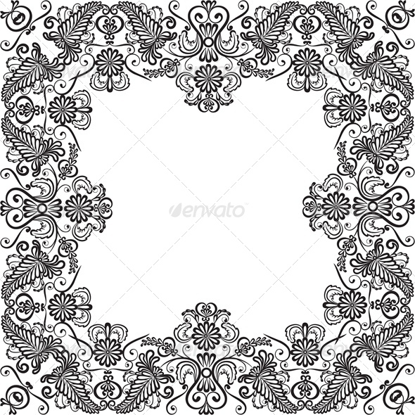 Lace Floral Frame - Flourishes / Swirls Decorative