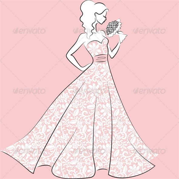 Bride in Lace Wedding Dress - People Characters