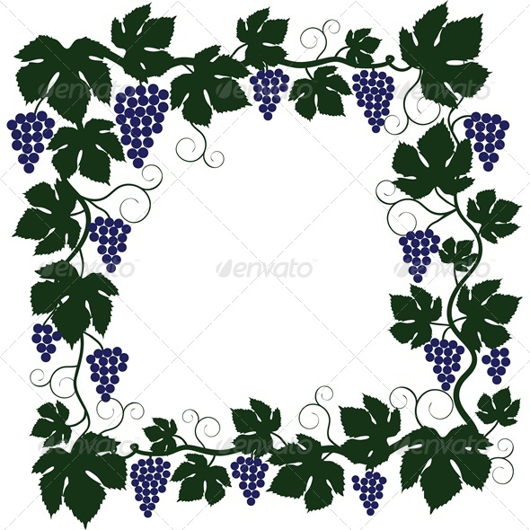 Bunch of Grapes and Vine Frame - Flowers & Plants Nature