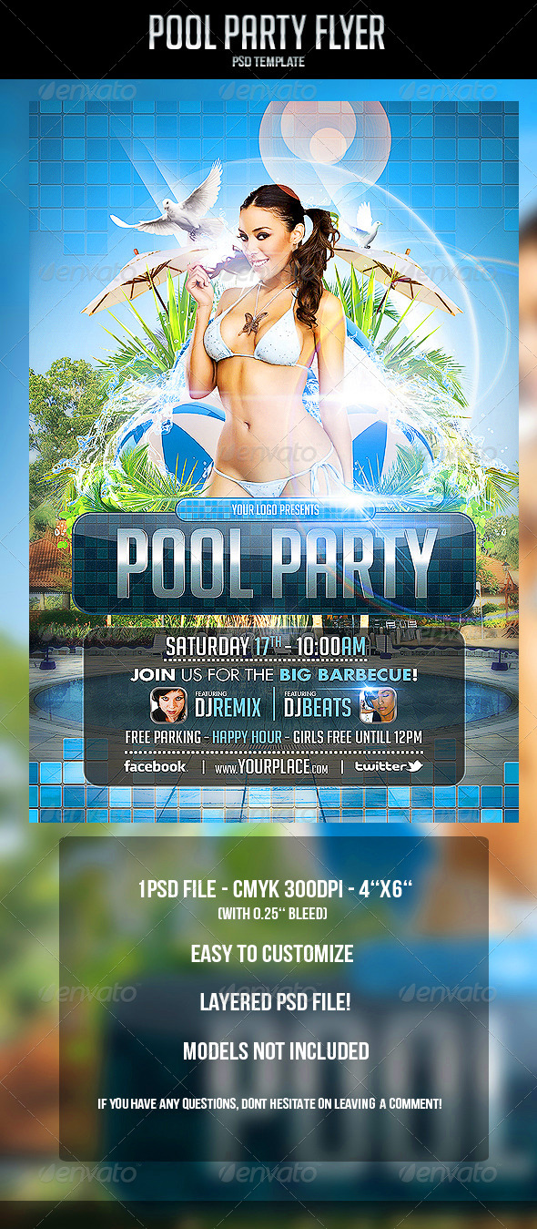 Pool Party Flyer Template   Clubs U0026 Parties Events