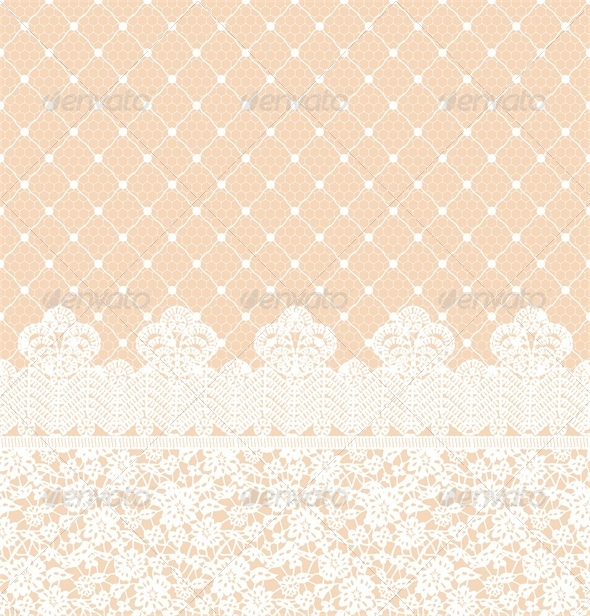 Wedding Invitation or Greeting Card with Lace Border - Backgrounds Decorative