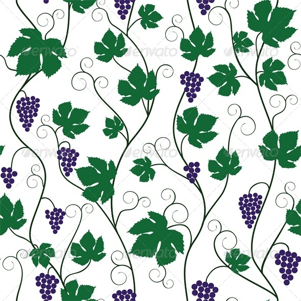 Seamless Background with Bunch of Grapes and Vine - Flowers & Plants Nature