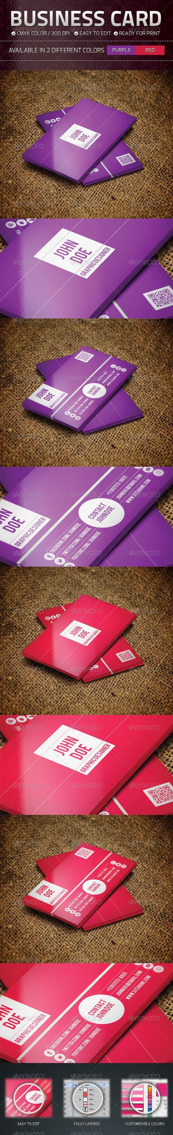 Purple and Red Business Card - Business Cards Print Templates