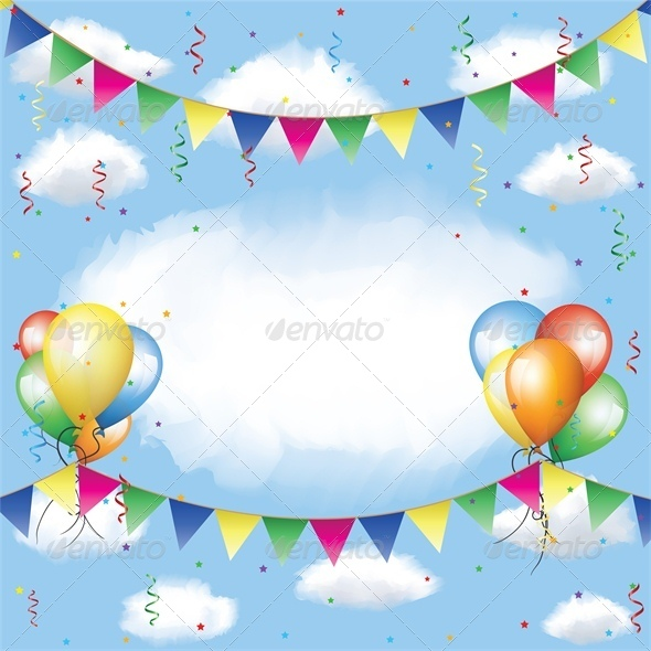 Banner, Balloons and Confetti in the Sky  - Miscellaneous Seasons/Holidays